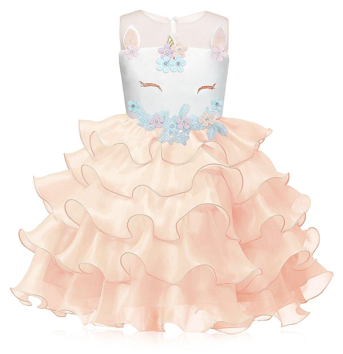 AmzBarley Ragazze Unicorno Principessa Abito Tutu Ragazza di fiore Abiti  per bambini Ragazze Festa Nozze Vestire ab989bb35d9