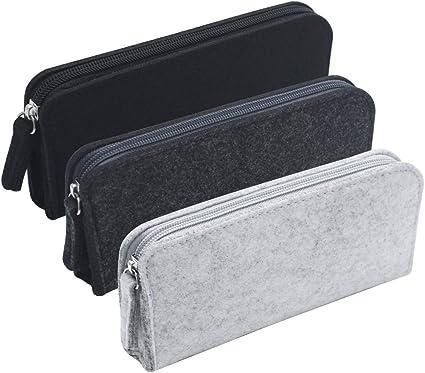 LumenTY Bolsa con Cremallera Bolsa para Lápices Bolsa de Fieltro con Cremallera Estuche para Lápices de Fieltro Multifuncional -3 unidades Negro/Gris oscuro/Gris claro: Amazon.es: Oficina y papelería