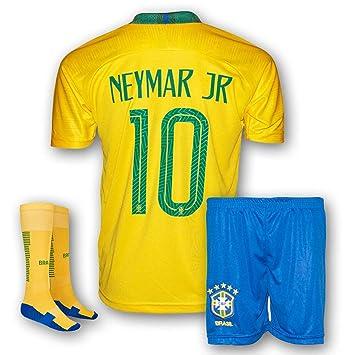 online store 481e1 d5e46 Neymar Jersey Brazil Home 10 Soccer Jersey & Shorts - Youth Football Kits  For Kids Boys, Girls & Children