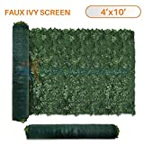 Sunshades Depot 4' x 10' Artificial Faux Ivy Privacy Fence Screen Leaf Vine Decoration Panel with Mesh Back