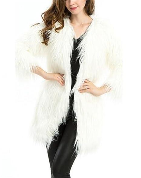 Amazon.com: Blanco de la mujer largo Fluffy pelo largo ...