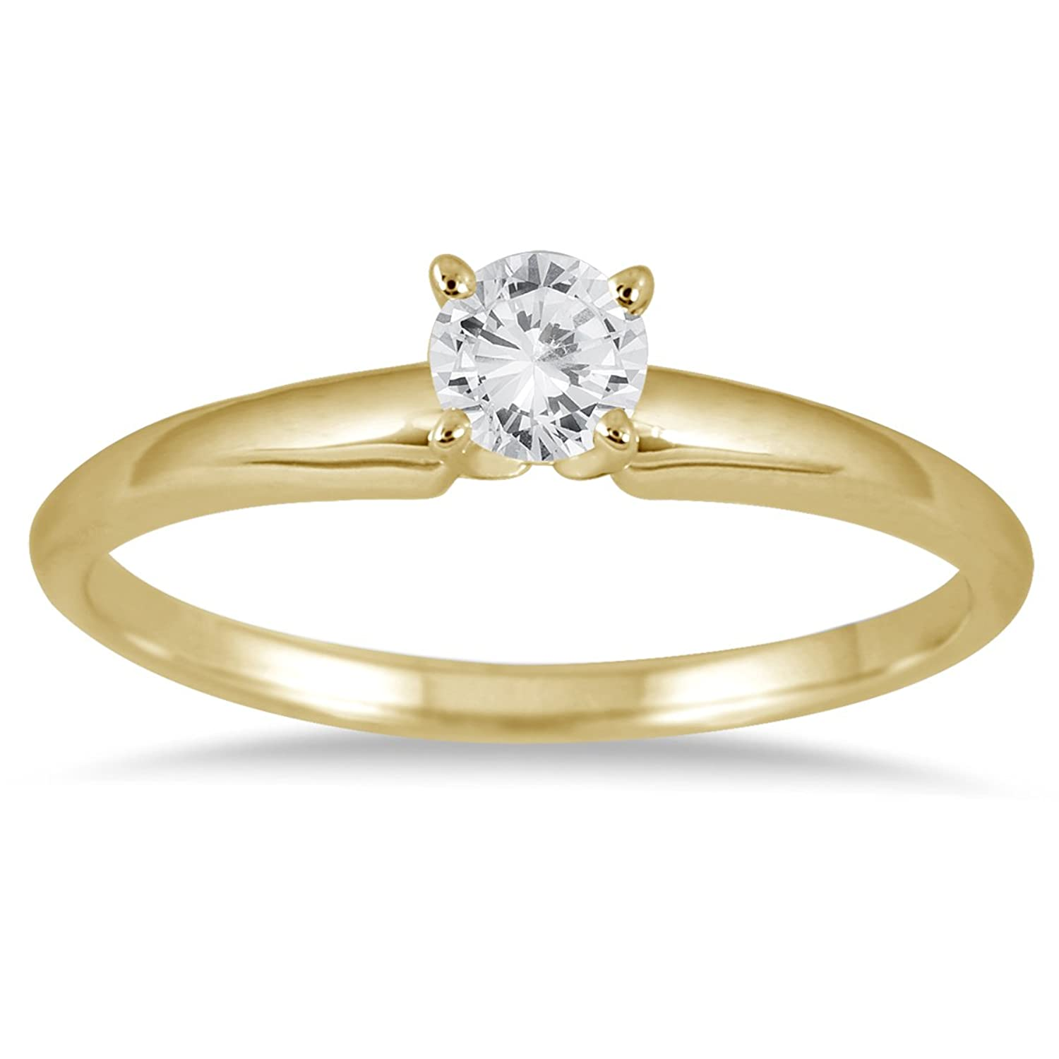 Amazon 1 10 Carat Round Diamond Solitaire Ring in 14K Yellow