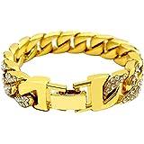 4e9e1185bab Bracelet chaîne hip hop plaqué or avec strass transparents - Pour homme et  femme - 14