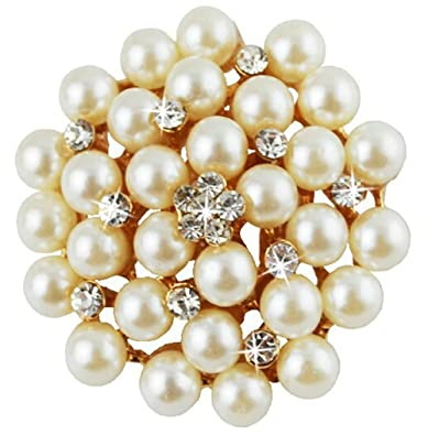 20fa4e530 Buy Via Mazzini Pearl Round Brooch Cum Saree Pin For Women And Girls  (Brooch0559) Online at Low Prices in India   Amazon Jewellery Store -  Amazon.in