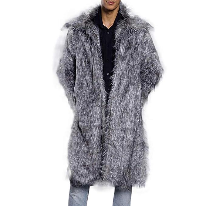 febbc88dc48c5a Cappotto Uomo Lungo Pelle Sintetica Primavera Beikoard(Asia Size) Moda Uomo  Caldo Cappotto Pesante Soprabito in Pelliccia Sintetica Parka Cardigan  Outwear: ...