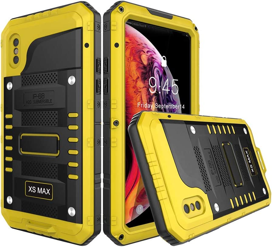 """Waterproof Case Compatible with iPhone xs max, Military Grade Drop Tested, Heavy Duty, Full Body, 360 Protective, Shockproof, Drop Proof Cover Built-in Screen Protector for iphone xs max 6.5"""" (Yellow)"""