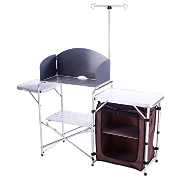 Campland Outdoor Portable Cook Station Folding Cooking Table Aluminum Camping Kitchen With Storage Organizer Windscreen