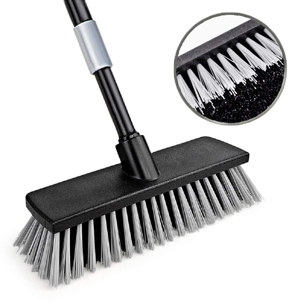 Push Broom Floor Brush Indoor Outdoor Scrubber Stiff Bristle 49.6 Inches Telescoping Poles for Cleaning Bathroom Kitchen Patio Garage Deck Wall Bathtub Tile Wood Floor