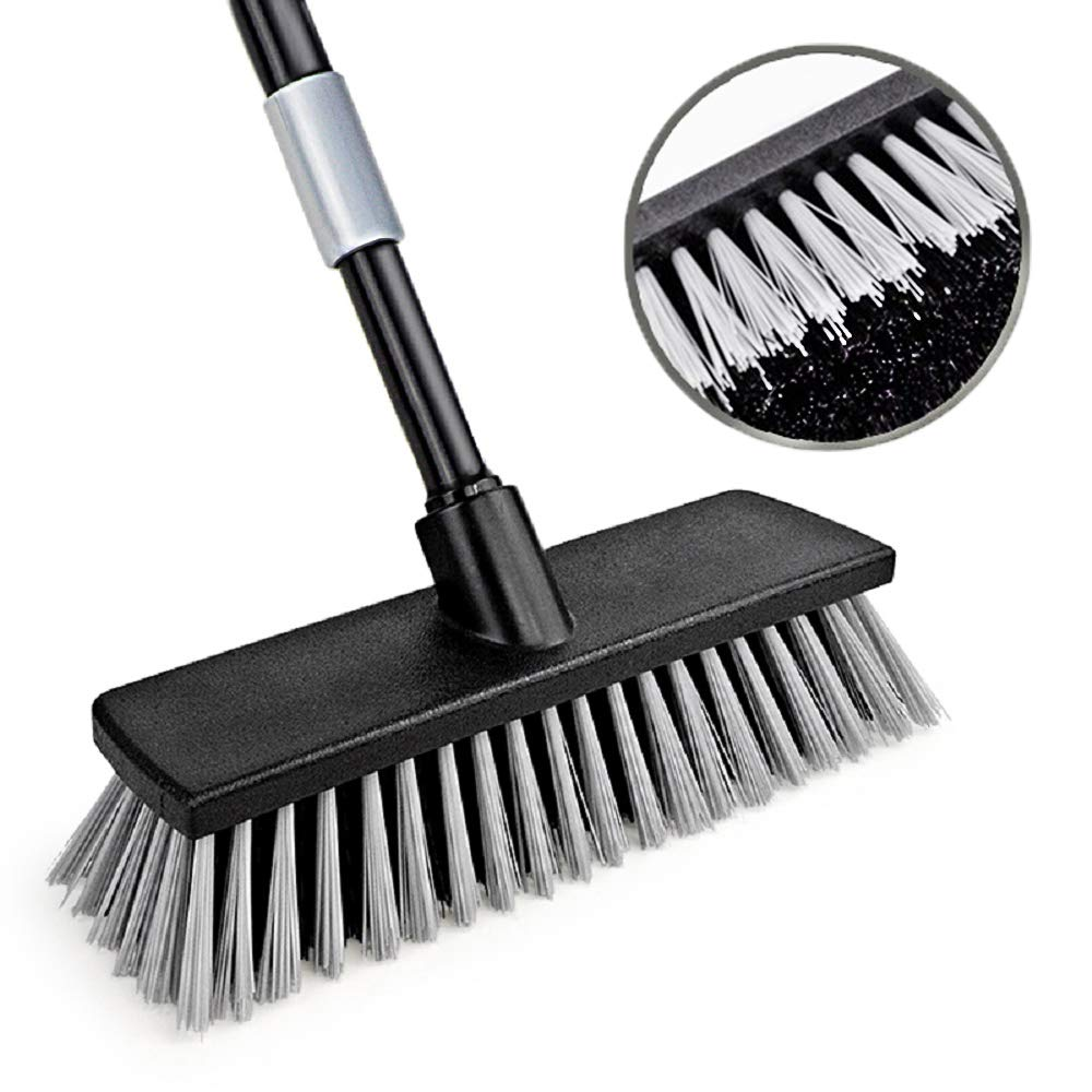 Push Broom Floor Brush Indoor Outdoor Scrubber, Stiff Bristle, 49.6 Inches Telescoping Poles for Cleaning Bathroom Kitchen Patio Garage Deck Wall Bathtub Tile Wood Floor by Iamagie
