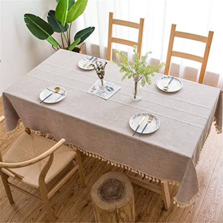 SONGHJ Ropa de algodón Simple Impermeable Borla Decorativa Mantel Rectangular Cubierta de Mesa de Comedor Fiesta de cumpleaños en casa Paño de Mesa de Halloween 140 × 180 cm: Amazon.es: Hogar