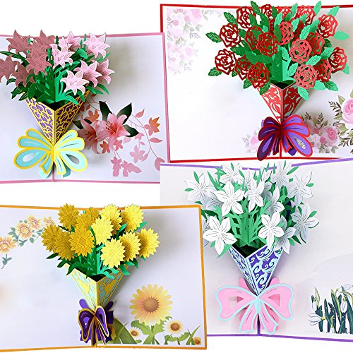 Flower Pop Up Cards 3D | Handmade Greeting Card with Envelopes for All Occasions | Assorted 4 Flower Cards for Thanksgiving Birthday Christmas Valentine