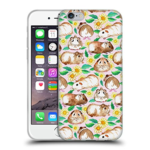 Price comparison product image Official Micklyn Le Feuvre Guinea Pigs And Daisies In Watercolour On Pink Patterns 2 Soft Gel Case for Apple iPhone 6 / 6s