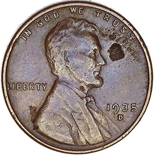 1935 D Lamination Obverse Lincoln Wheat Cent Very Fine