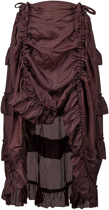DOGZI Falda Estilo Steampunk Gothic Ruffles Falda Pirata Wrap ...
