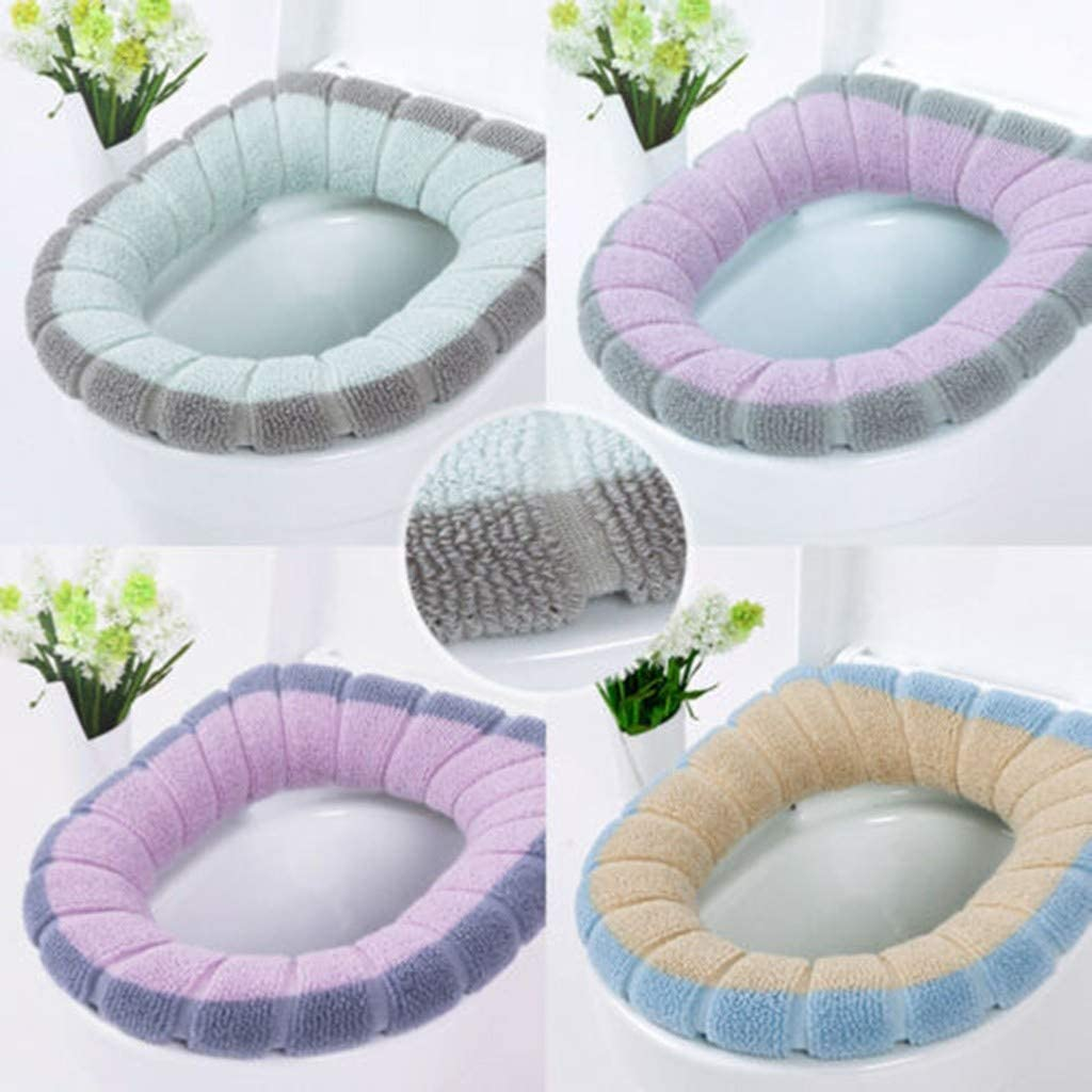 A HUCCZ Home Bathroom Soft Toilet Seat Closestool Washable Warmer Mat Stretchable Cushion Easy Installation /& Cleaning Cover Pads