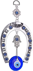 ME9UE Blue Evil Eye Amulet 8 Inch Blue Evil Eye Pendant Decoration, Handmade Turkish Evil Eye Ornament, Lucky Blue Evil Eye Hanging Ornament Amulet for Car, Home and Office for Protection and Blessing