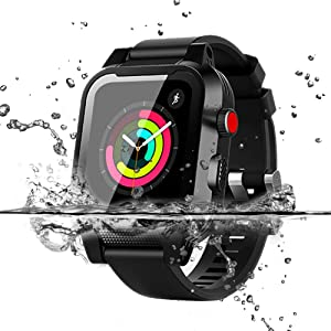 Apple Watch Waterproof Case for 38mm Apple Watch Series 3 & 2, YUANHenry Waterproof Shockproof Impact Resistant Rugged Protective Case with Built-in Screen Protector Premium Soft Strap Bands Black