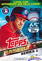 2016 Topps Series 1 MLB Baseball HUGE EXCLUSIVE Factory Sealed Hanger Box with 72 Cards! Brand New! Loaded with Cool Inserts and New Rookie Cards! Look for Autographs and Game Used Relics !