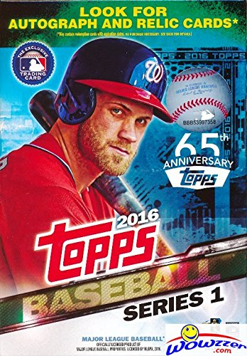 2016 Topps Series 1 MLB Baseball HUGE EXCLUSIVE Factory Sealed Hanger Box with 72 Cards! Brand New! Loaded with Cool Inserts and New Rookie Cards! Look for Autographs and Game Used Relics ! (2015 Packs Baseball Card Topps)