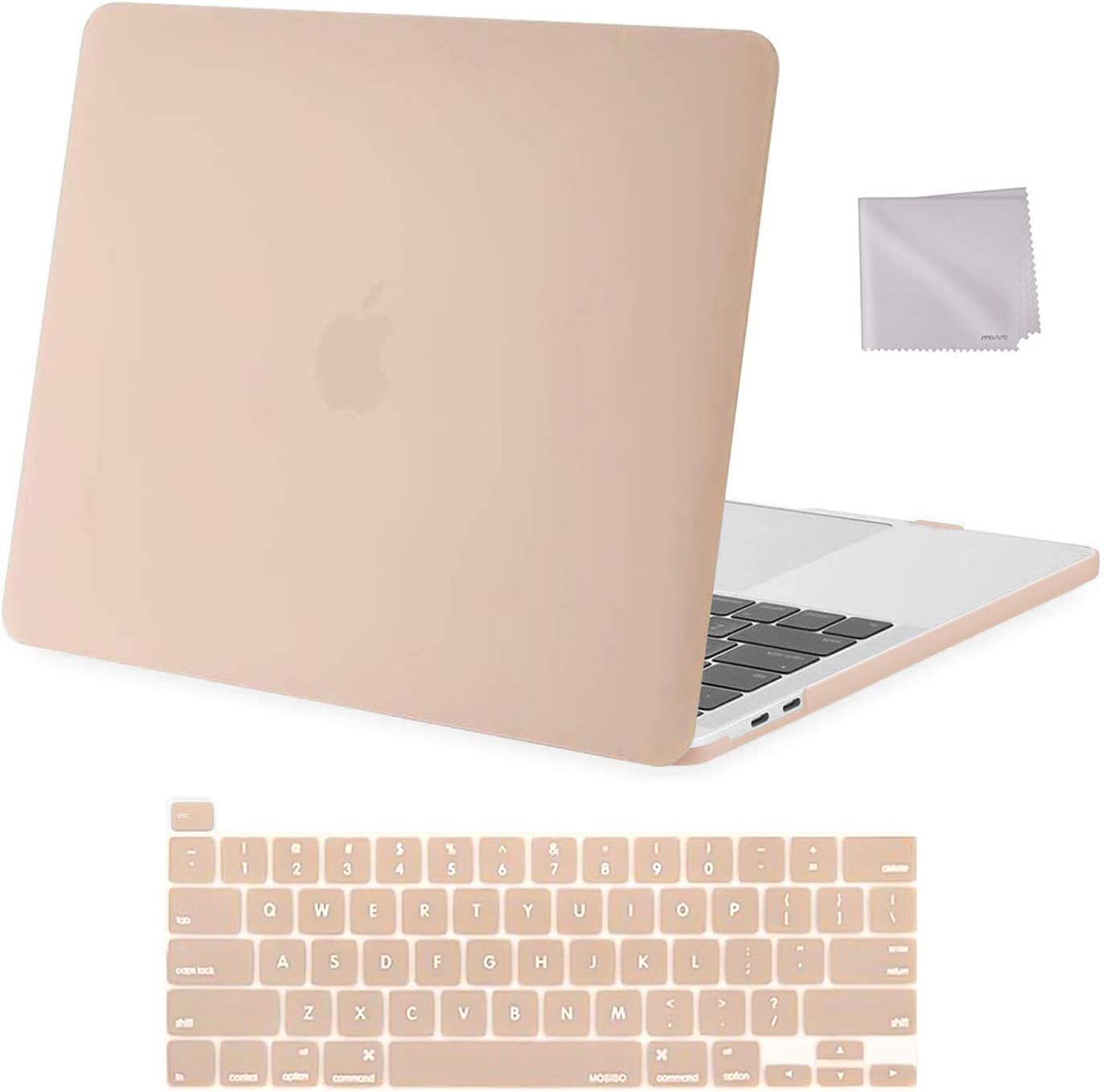 MOSISO Compatible with MacBook Pro 13 inch Case 2016-2020 Release A2338 M1 A2289 A2251 A2159 A1989 A1706 A1708, Plastic Hard Shell Case & Keyboard Cover Skin & Wipe Cloth, Camel