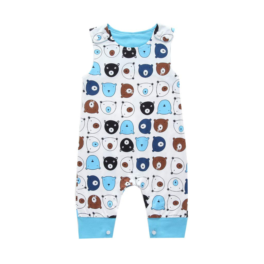 2019 New! Infant Baby Rompers,Newborn Boys Girls Jumpsuit Sleeveless Cartoon Animal Printed Bodysuit Sunsuit Outfits White