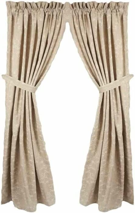 Home collection by Raghu 2-Piece Candlewicking Panels, 72 by 63-Inch, Taupe