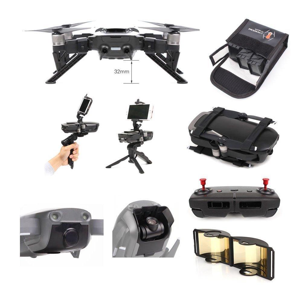 DJI Mavic Air Accessories 8 Pack Combo: 2in1 Handheld Holder & Portable Tripod, Propeller Stabilizers, Higher Landing Skid, Lens Hoold, Lens Cover, Lipo Stafety Bag, Antenna Extender,CNC Thunb Rocker