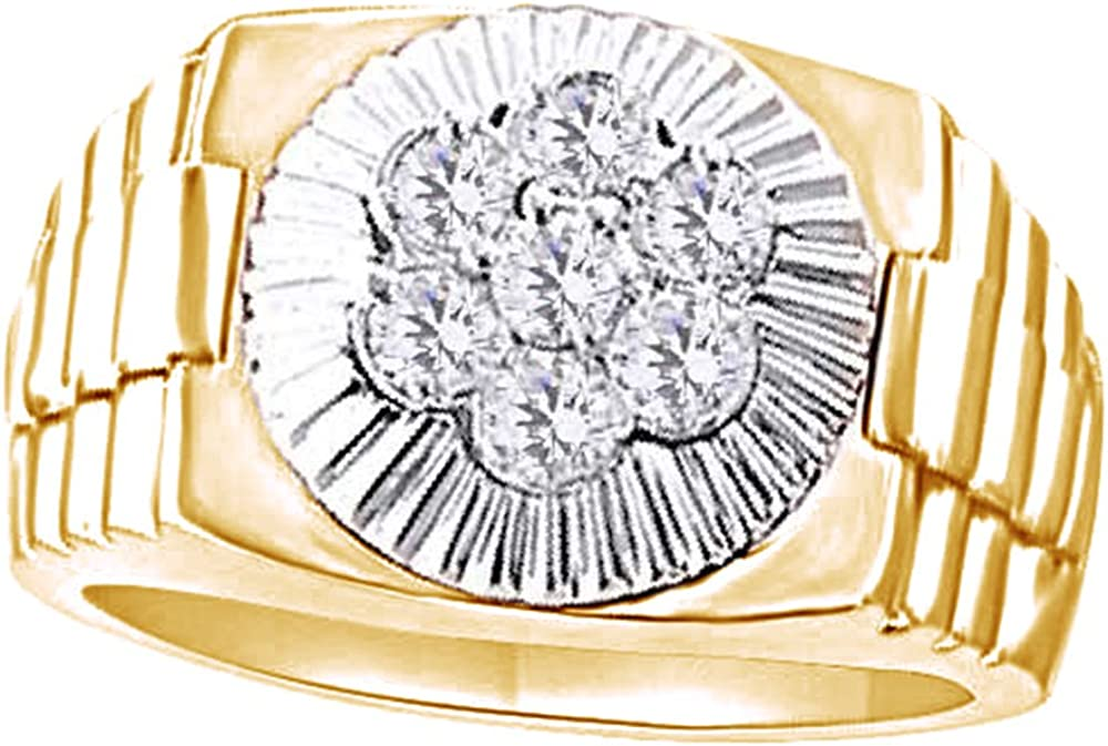 Wishrocks Round Cut Cubic Zirconia Hip Hop Mens Hand Band Ring in 14K Gold Over Sterling Silver