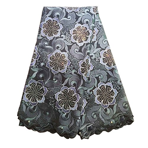 BlueSky 5 Yards/Lot Latest African Nigerian French lace Fabric Embroidered Beading and Rhinestones for Wedding Party (Navy Blue) Blue Sky Cotton Skirt