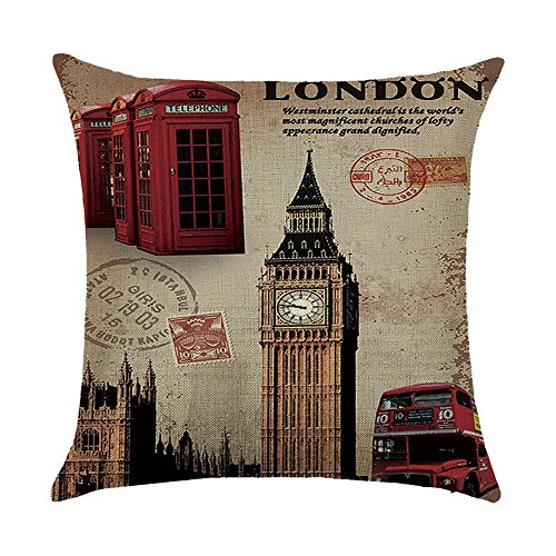 Hengjiang Vintage British Style Cushion Cover Retro London The Red Phone Box Printing Double-sided 120g Thick Cotton Linen Square Pillowcase 45cm x 45cm(18 x -