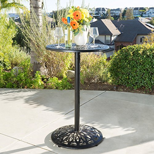 Paris Cast Aluminum Outdoor Bar Height Bistro Table (chairs are not ()