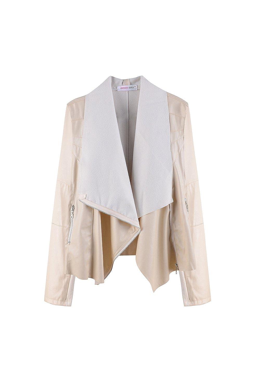 YACUN Women Casual Faux Leather PU Biker Bomber Jacket Coat Outwear CANS8023