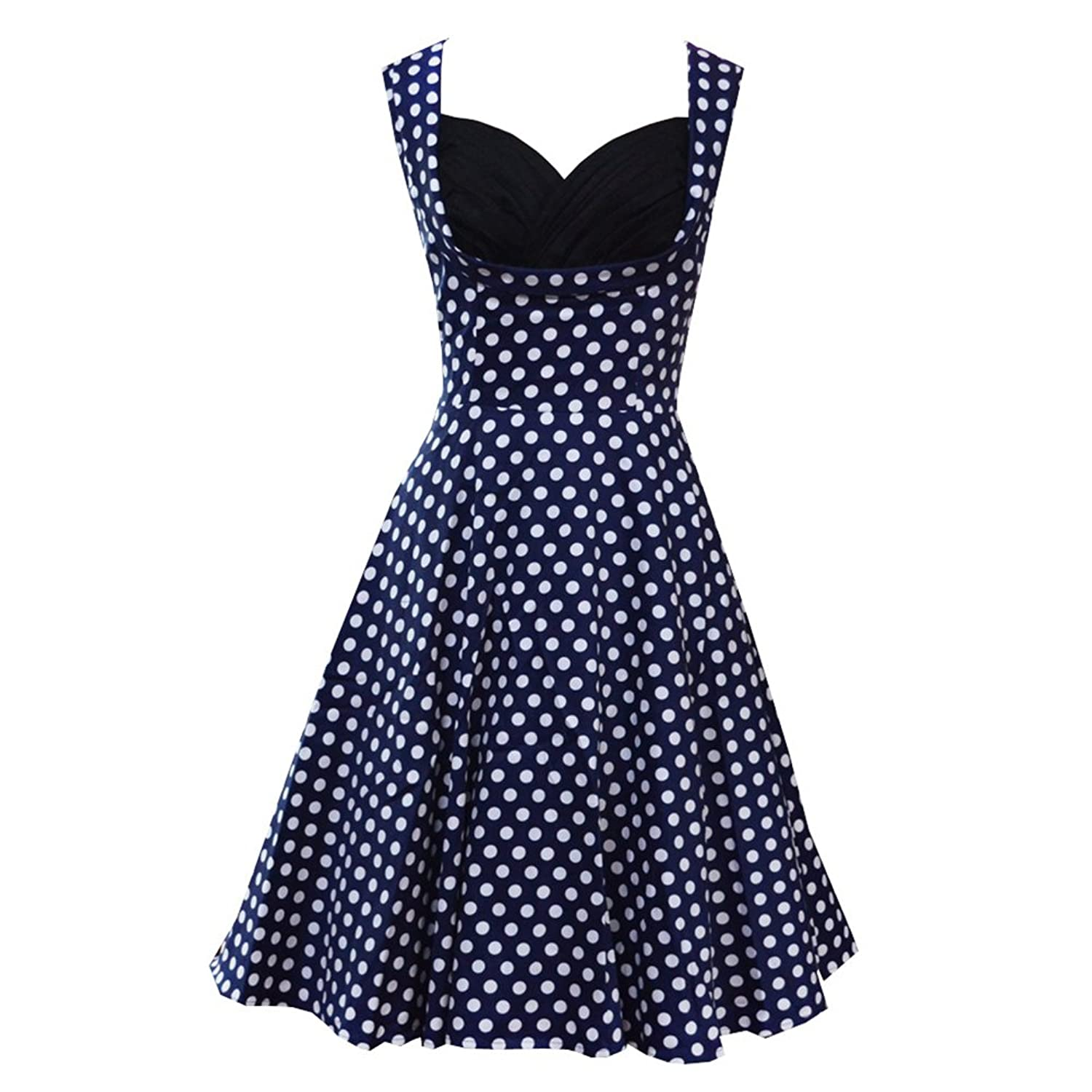 Ensnovo Womens Cut Out Vintage 1950s Style Floral Printed Polka Dot Swing Dress