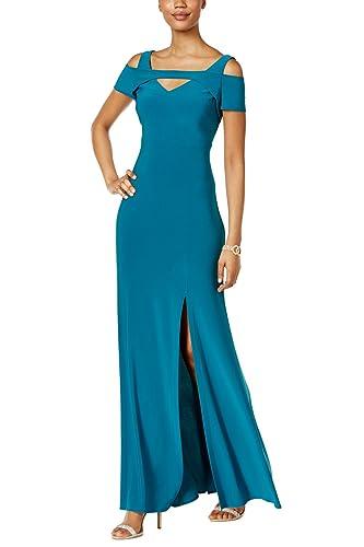 Nightway Womens V Neck Cap Sleeve Shoulder Cut Full Length Maxi Formal Party Dress