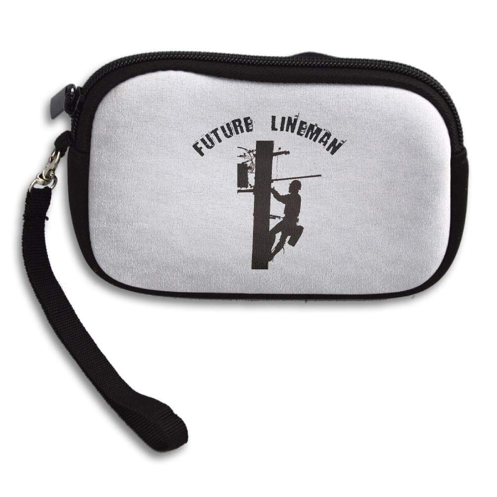 Future Lineman Custom Zip Handbag Coin Purse Change Cash Wallet