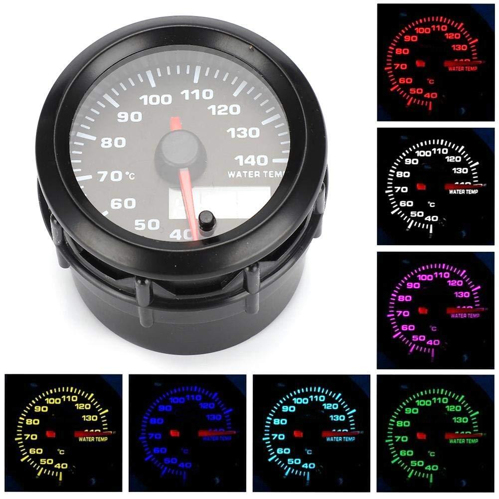 Universal 2in 52mm Car Electronic Water Temp Meter Temperature Analog Gauge with Sensor 7 Colors LED Water Temperature Gauge