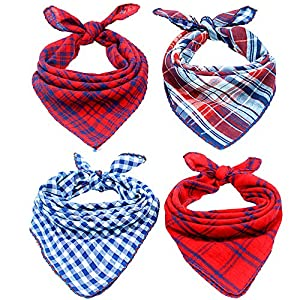 Invlab Dog Bandanas - 4 Pack Washable Triangle Bibs Scarfs, Reversible Plaid Printing Kerchief for Dogs and Cats 63