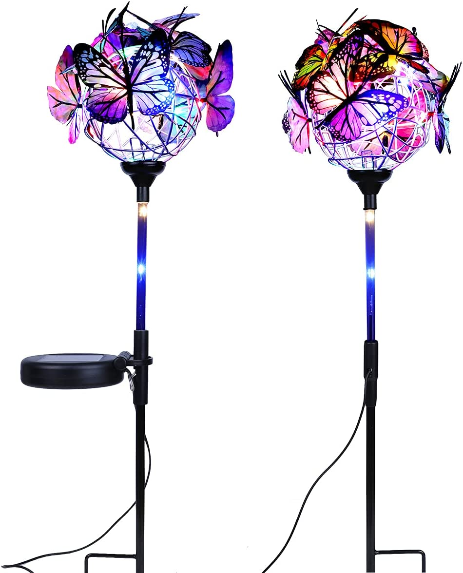 Outdoor Solar Garden Stake Lights,Waterproof 2 Pack Solar Powered Lights with 18 Butterflies and Copper String Lights,Multi-Color Changing LED Solar Landscape Lighting Light for Garden,Yard,Patio