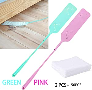 Libracompany Detachable Cleaning Duster Brush,2pcs x 25.7in Brush &50pcs Non-Woven Dust Cleaner for Sofa Bed Furniture Bottom Household Cleaning Tool