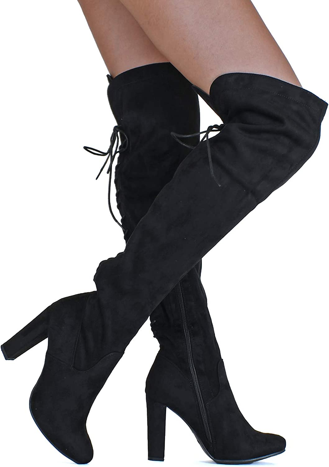 Details about  /Womens Chunky Low Heel Stretch Over The Knee Thigh High Boots Square Toe Shoes L