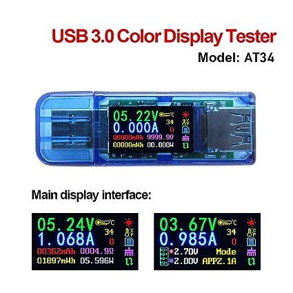USB 3.0 Color Display Tester, Maserfaliw Color LCD Display USB 3.0 Tester Voltage Current Meter