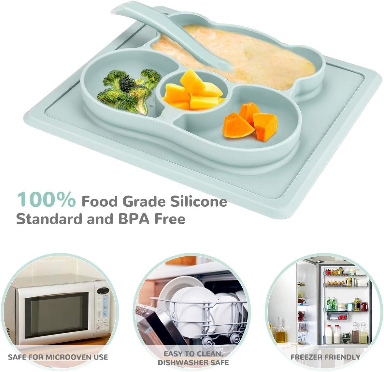 Powcan B/éb/é Placemats /& Assiette Silicone Grade Alimentaire Ventouse Forte Antid/érapant Napperon FDA Approuv/é sans BPA pour B/éb/é Nourrisson Micro-ondes et Lave-Vaisselle S/écuritaire