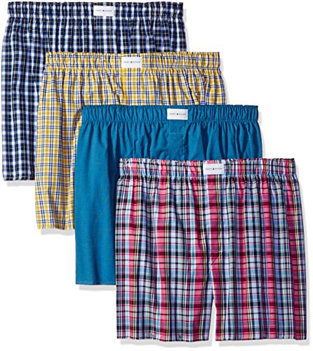 tommy-hilfiger-mens-underwear-4-pack-cotton-classics-woven-boxers-multi-x-large