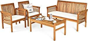 Tangkula 4 Piece Outdoor Acacia Wood Sofa Set w/Water Resistant Cushions, Padded Patio Conversation Table Chair Set w/Coffee Table for Garden, Backyard, Poolside (1)