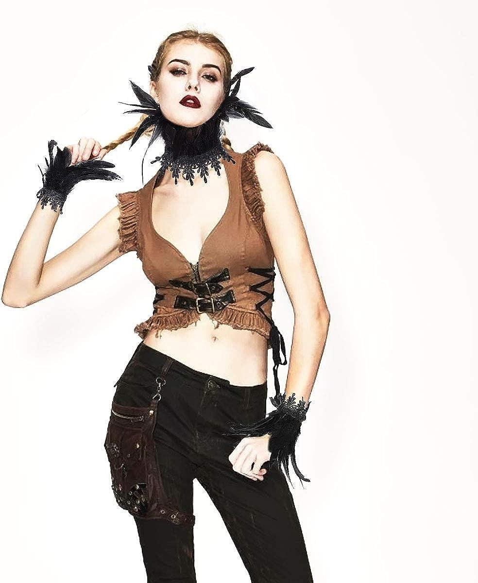 ANSUG naturale della piuma del collo del Choker con 2 polsini da polso per donna Accessori per costumi di Halloween per feste anni 20