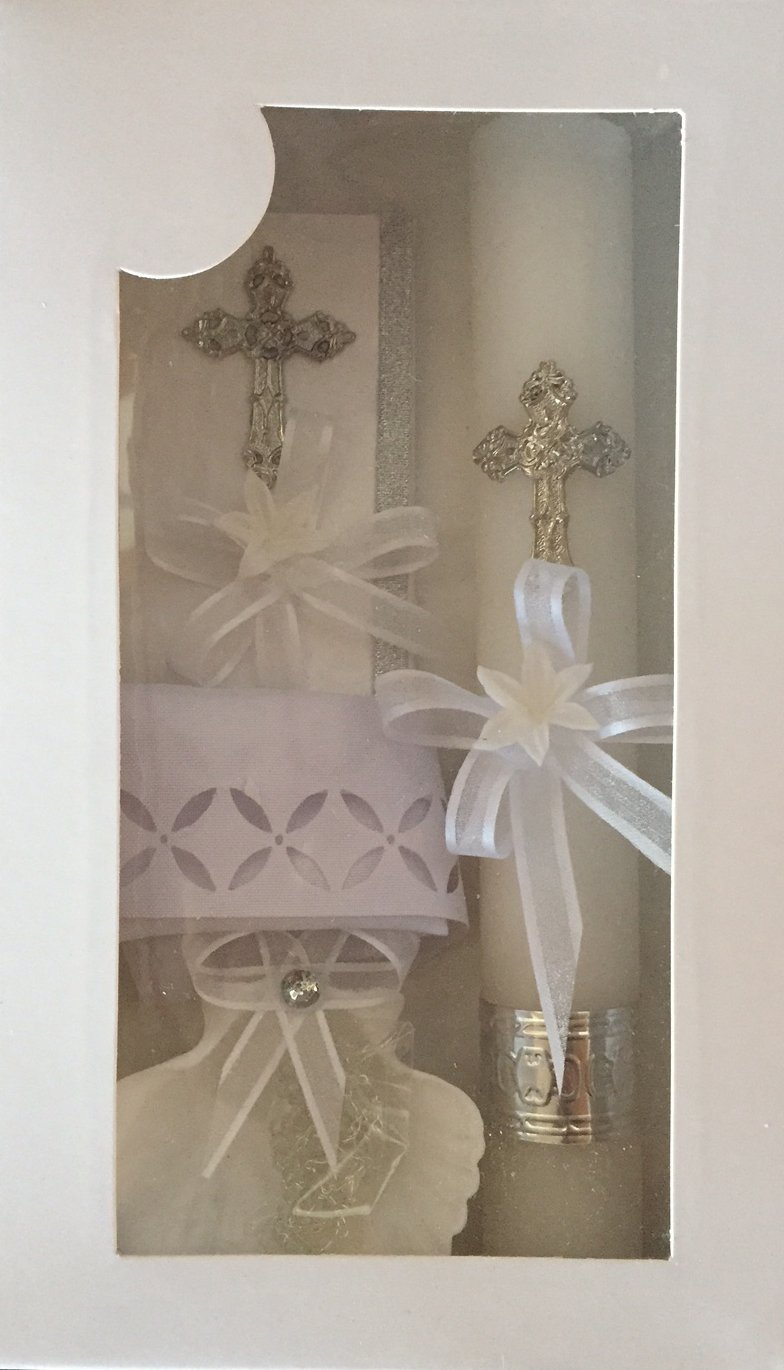 New Boys or Girls Christening Baptism Candle Box Gift 5 Pc Set Shell Missal Book in English SFI