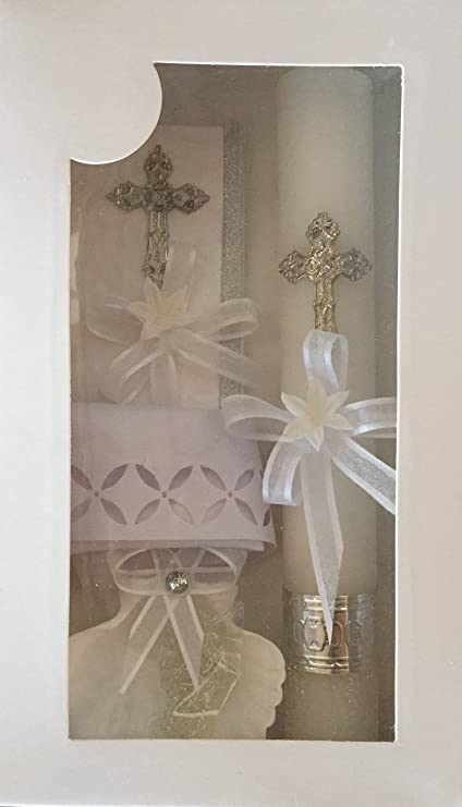 New Boys or Girls Christening Baptism Candle Box Gift 5 Pc Set Shell Missal Book in