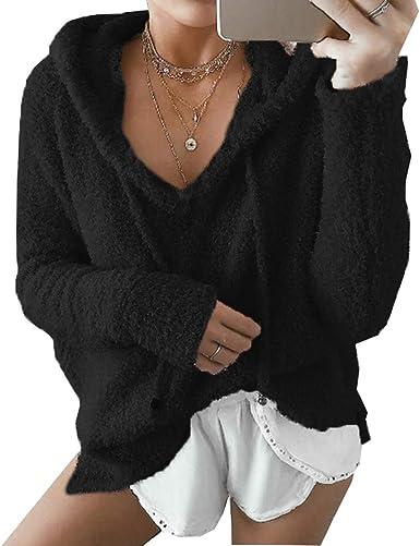 Women Hoodies Hooded Drawstring Pullover Fuzzy Oversize Fluffy Sweater Warm Long Sleeve Outerwear
