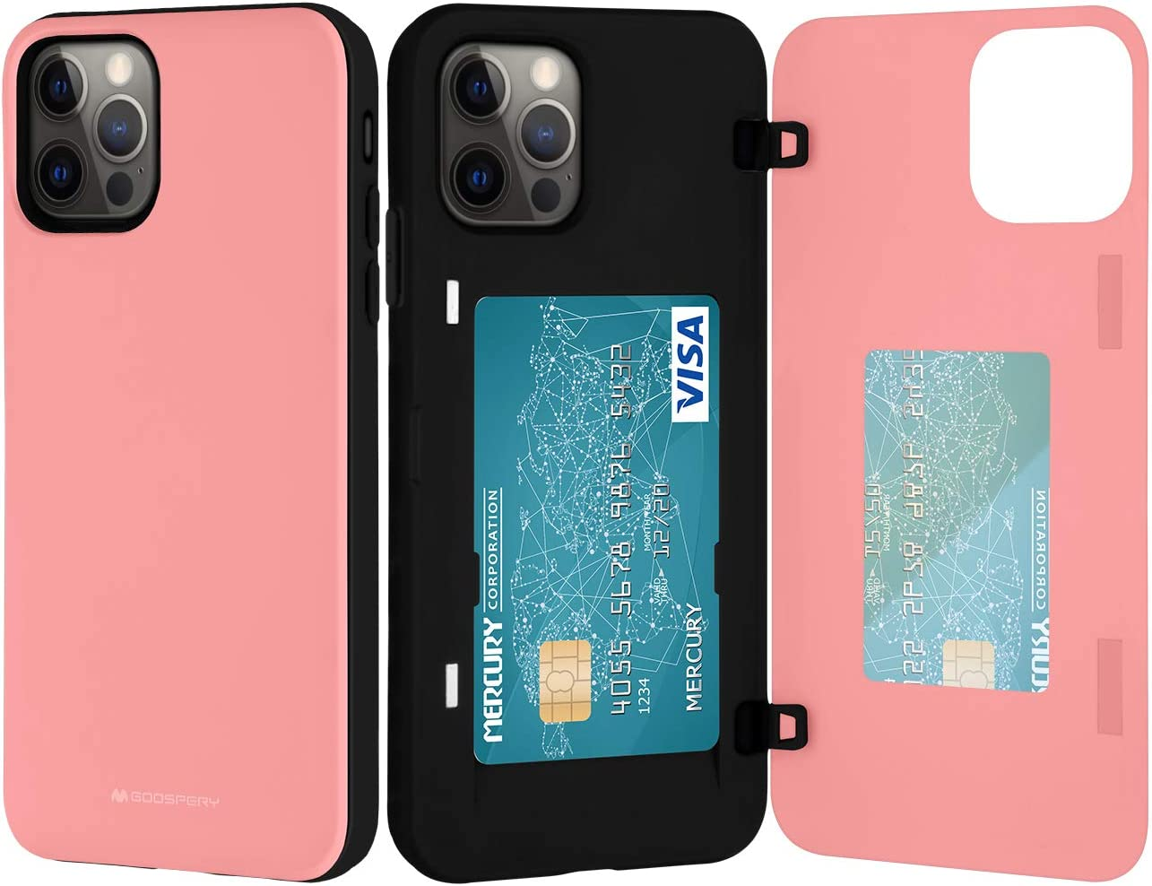 Goospery iPhone 12 Pro Max Wallet Case with Card Holder, Protective Dual Layer Bumper Phone Case (Pink) IP12PM-MDB-PNK