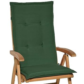 Beautissu Loft HL cojín de sillas/tumbonas/mecedoras/Asiento con Respaldo Alto HL 120x50x6 cm - Placas compactas de gomaespuma - Verde Oscuro